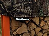 The Woodhaven 10 Foot Orange Firewood Log Rack with Camo Cover