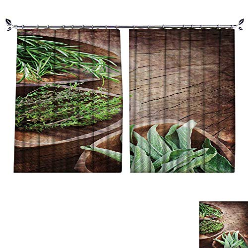 PRUNUS Blackout Window Curtain with Hook aromati Herbs on Wooden backgroun Rosemary Thyme sage Balance Indoor Temperature,W72 xL45