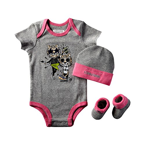 Converse Infant 3 Piece Baby Set (0-6 Months, Gray/Pink)