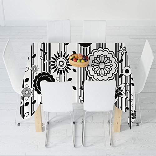 Custom Tablecloth,Black and White,for Home & Office & Restaurant Table Tea Table,31.5 X 32.5 Inch,Monochrome Funky Blossoms Abstract Pattern Vertical Lines ()