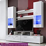 Exquisite Living Room Furniture Suite - Fronts in High Gloss - Display Wall Hanged Unit - TV Floor Cabinet - TV Stand -2 Shelves - LED Lighted Glass Shelves behind Partly Glazed Doors (Alice 1 / WWW)
