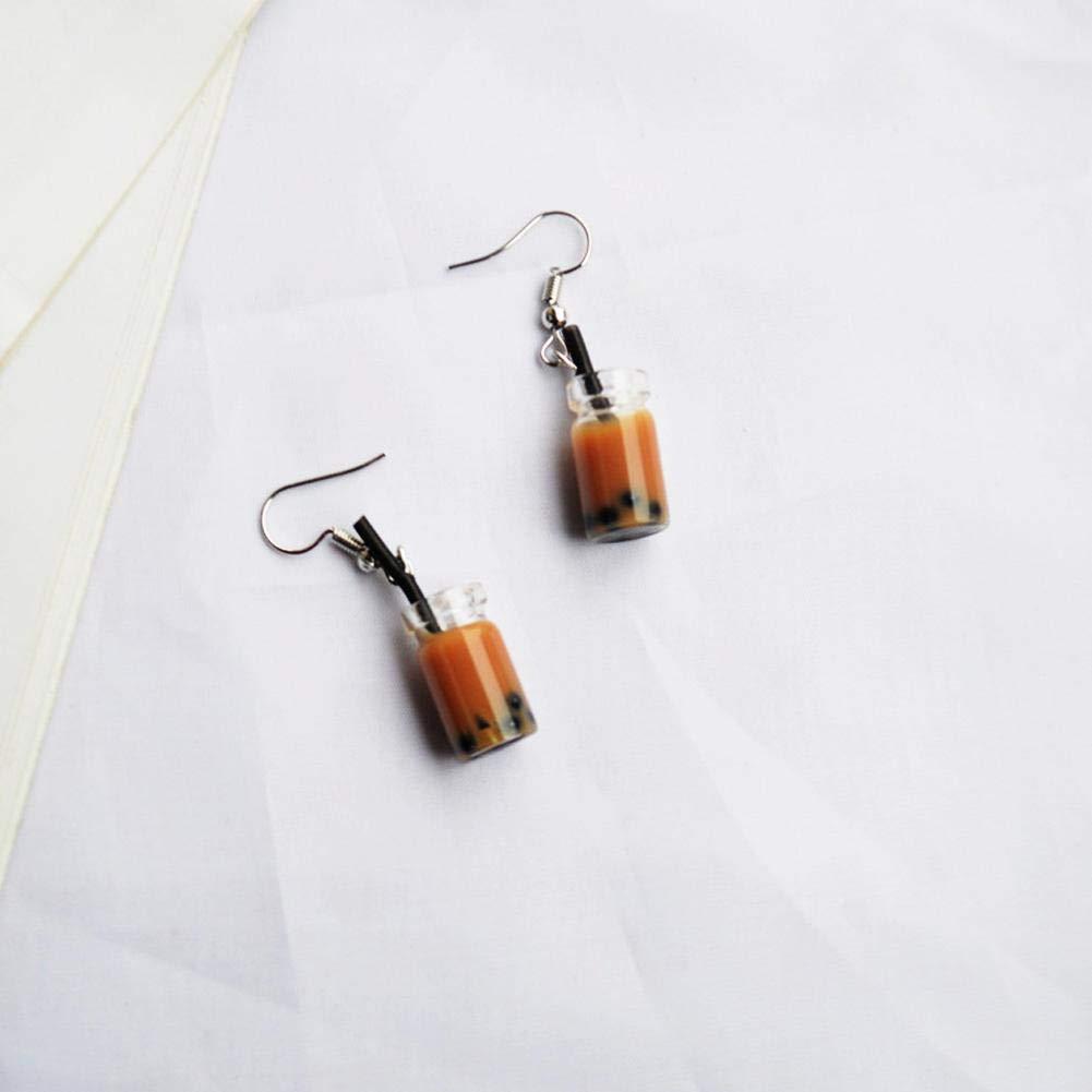 JaneDream Earrings Cute Dangle Funny Creative Colour Pearl Milk Tea Glass Drop Earrings for Women Girl
