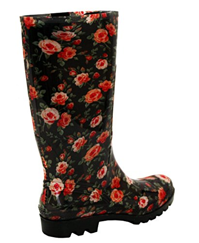 Rain Footwear amp;H Womens Mud Girls Ladies Sizes Wellies Boots Festival Rubber 3 UK Wellington Roses Snow Floral 8 Waterproof A New AFqw5C8A
