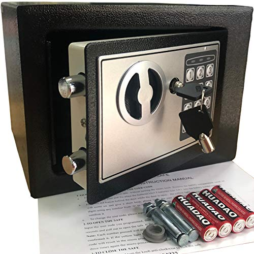 Yuanshikj Electronic Deluxe Digital Security Safe Box Keypad Lock Home Office Hotel Business Jewelry Gun Cash Use Storage Money (Black 1) (Cute Sayings To Put On A Piggy Bank)