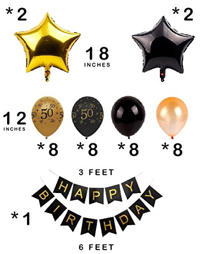 Dharma Creations 50th BIRTHDAY DECORATIONS GOLD BLACK COMPLETE