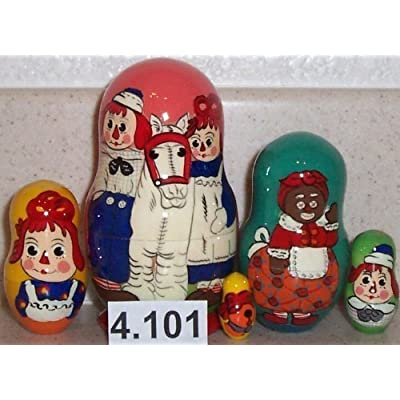 Raggedy Ann and Andy * Russian Nesting doll 5 pc / 4 in * 4.101: Toys & Games