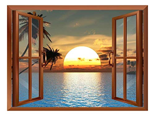 Tropical Beach Landscape with Palm Trees at Sunset View from Inside a Window Removable Wall Sticker/Wall Mural - 24
