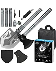 BANORES Camping Shovel Axe, Multifunctional Folding Shovel and Survival Axe 19.37-38.97inch Lengthened Handle High Carbon Stainless Steel