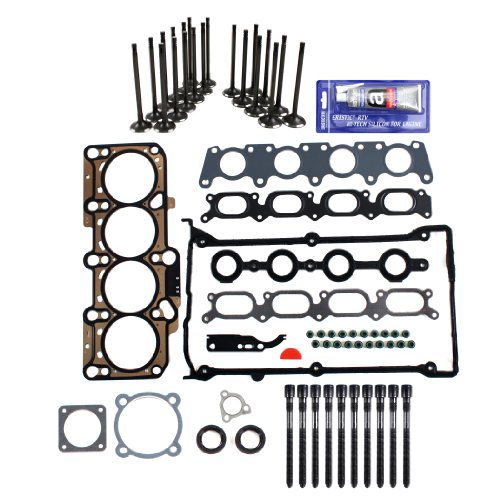 Brand New EH1652X1HBSIVKVW MLS Head Gasket Set + Head Bolt Set (Length 136mm) + Intake Exhaust Engine Valve Kit + RTV Gasket Silicone for Audi Volkswagen 1.8L 1.8T Turbocharged (20 Valve)