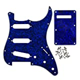 IKN SSS 11 Holes Strat Electric Guitar Pickguard and Back Plate Set for Fender US/Mexico Style Standard Strats Modern Style Guitar Parts, 4Ply Blue Pearl with 25 Screws