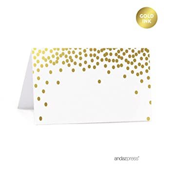 photograph about Printable Table Tents known as Andaz Push Steel Gold Confetti Polka Dots Bash Range, Printable Desk Tent Space Playing cards, 20-Pack
