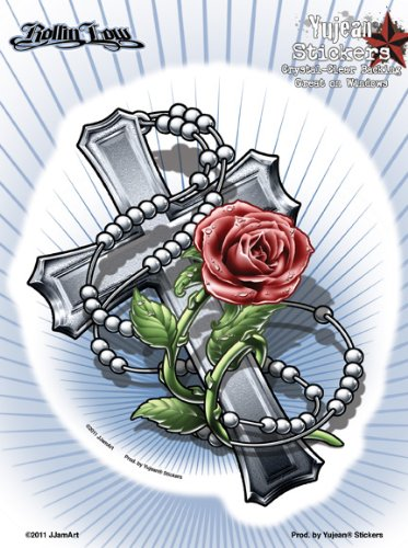 Rollin Low - Rosary and Cross - Large Sticker / Decal (Rosary Car Decal compare prices)
