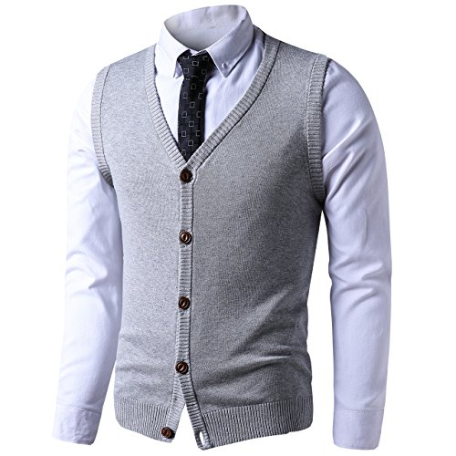 LTIFONE Mens Button Down Sweater Vest Basic Plain Short Sleeve Sweater Cardigan Sweaters Slim Fit with Ribbing Edge(Grey,L) by LTIFONE