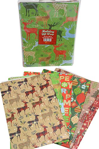 Gift Wrapping Flat Paper (Gift wrap flat wrapping paper, Christmas designs, assorted holiday designs, pack of 48 sheets, 20