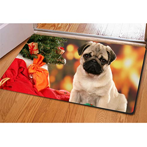 (UNICEU Xmas Pug Dog Doormat Big Mouse Pat Non-Skid Modern Carpet Christmas Ornament Holiday Decor)