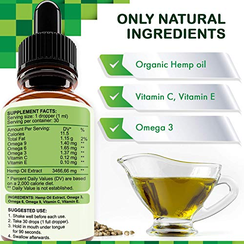51ycLP1auzL - Hemp Oil Extract 104 000 mg, All-Natural Drops for Pain, Stress, Anxiety Relief, Deep Restful Sleep