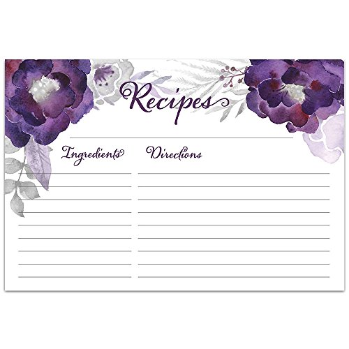 Floral Purple Recipe Cards from Dashleigh, 48 Cards, 4x6 inches, Water-Resistant and Double-Sided by Dashlegh