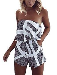 Walant Women Fashion Strapless Printed High Waist Flouncing Jumpsuit