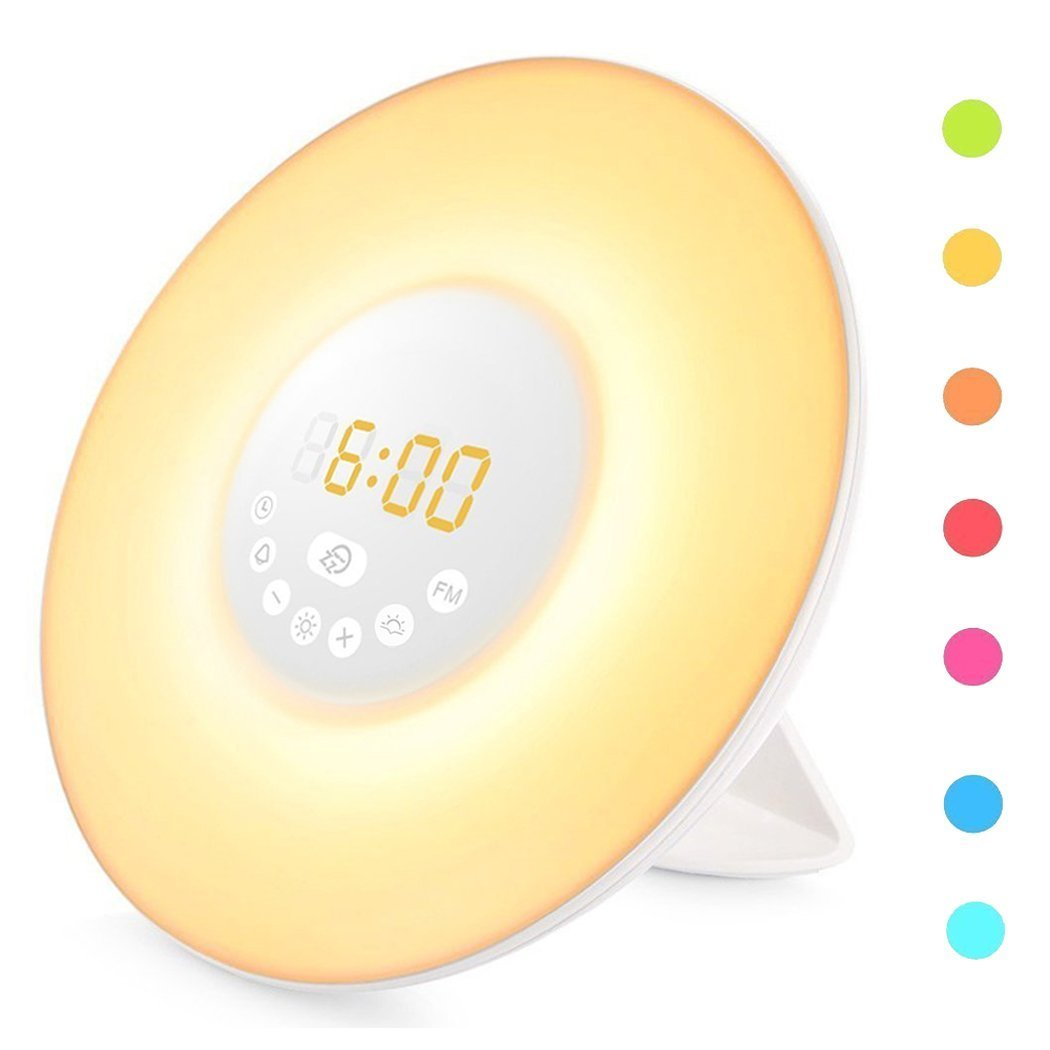YGold Alarm Clock Wake Up Light Sunrise Sunset Simulation with FM Radio Natural Sounds and Snooze Function 7 Colors 10 Brightness Touch Control and USB Charge for Kids or Bedroom