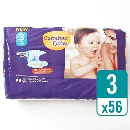 Carrefour bebé Ultra Dry pañales tamaño 3 esenciales (56 Pañales
