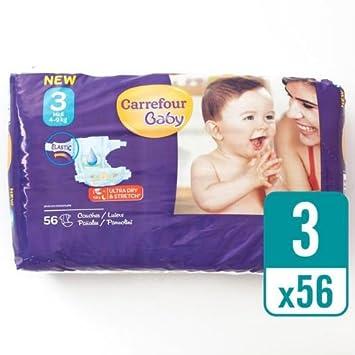 Carrefour bebé Ultra Dry pañales tamaño 3 esenciales (56 Pañales: Amazon.es: Bebé