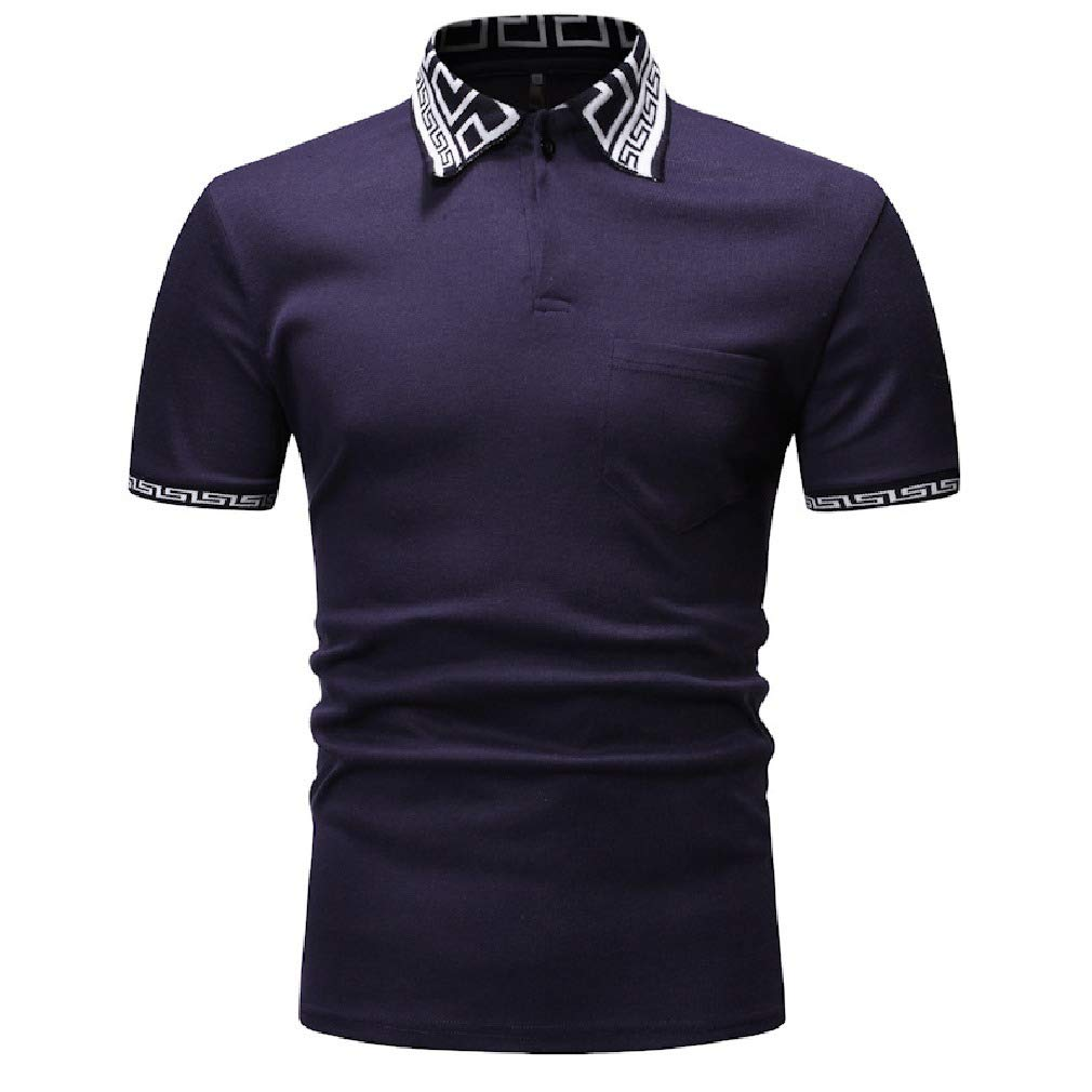 RDHOPE-Men Individuality Fashion Short Sleeve Hit Color Regular-Fit Polo