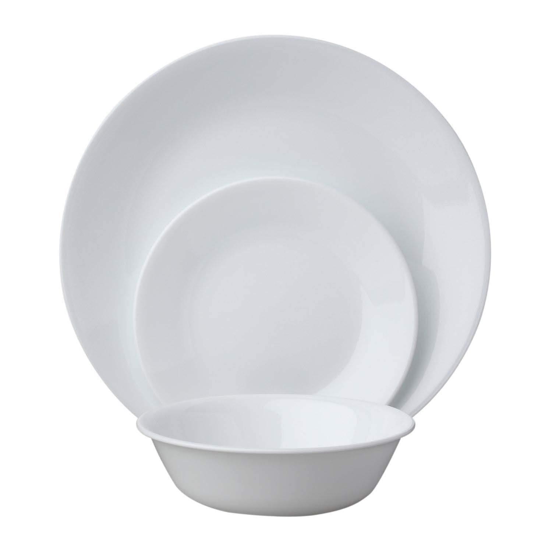 Corelle Livingware 18-Piece Dinnerware Set, Winter Frost White, Service for 6 (1088609)