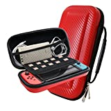 YOUSHARES Nintendo Switch Carrying Case, PU Large Capacity Waterproof Hard Shield Protective Deluxe Travel Case with 10 Game Cards for Nintendo Switch Console with Joy-Con Controller 2017 (Red)
