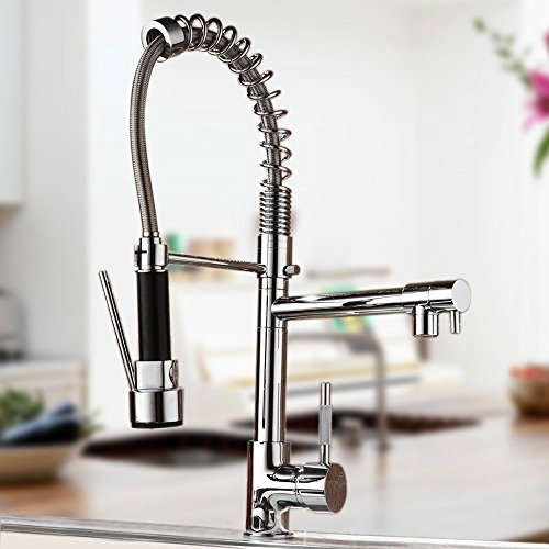 CO-Z Kitchen Sink Faucet Pull Down with Sprayer 360° Swivel Spouts Mixer Tap Chrome Finished - Chrome Map
