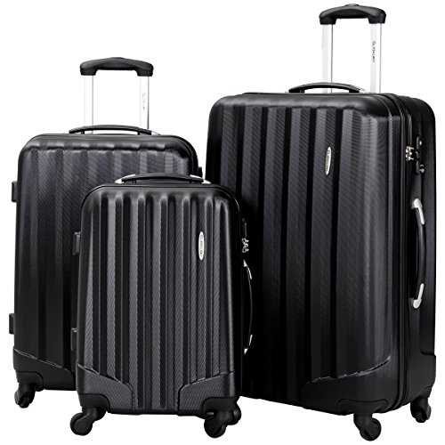 Giantex Globalway 3 Piece Luggage Set Suitcase with TSA Lock Spinner Wheels Rolling Trolley for Traveller Deluxe Lightweight Aluminum Handle Tear-Proof Solid Hardshell Suitcases, 20