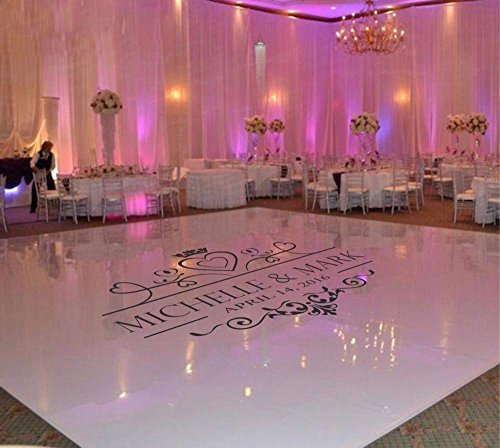NightLite USA Wedding Dance Floor Decal Sticker | Fancy Monogram Wall Decal | Easily Applicable and Removable | Premium Quality | Customized Name & Date Sticker on Wedding/Anniversary