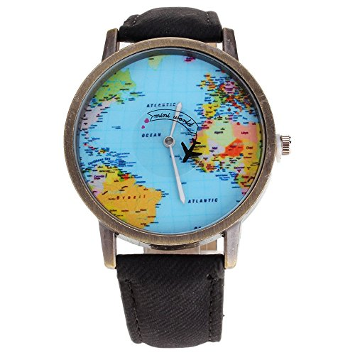 HuntGold Men Fashion Mini World Map Round Dial Plane Electronic Wristwatch Denim Leather Band Watch - - Map Face