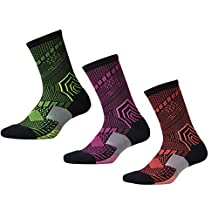 Men's Cotton Breathable Basketball Crew Sock Pack of 3 ( Pink Green Orange)