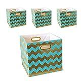 BAIST Fabric Storage Bins,Heavy Duty Square Gold Canvas Fabric Storage Cubes Bins Baskets For Playroom Bedroom Shelf School Days,set of 4,Aqua Chevron