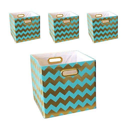 BAIST Fabric Storage Bins,Heavy Duty Square Gold Canvas Fabric Storage Cubes Bins Baskets For Playroom Bedroom Shelf School Days,set of 4,Aqua Chevron by BAIST
