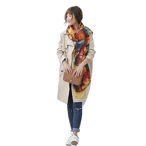 Donna Graffiti Extra Grande Cashmere Feel Sciarpe Stole Scialli Wrap Con Frange