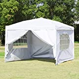 Easyzon Pop Up Patio EZ Canopy Tent Heavy Duty Gazebo Pavilion Outdoor Party Commercial Instant Tents Impact Canopies with Sidewalls,10 x 10 FT (White with sidewalls)