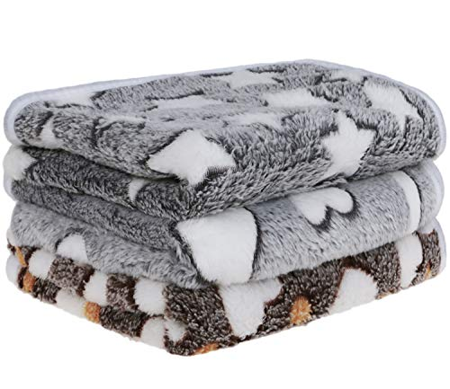 Petsvv 3 Pack Dog Blanket, Soft Fleece Flannel Throw Dog Blanket, Warm Pet Blankets for Cat & Small Dog, Grey Series