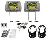 Pair Rockville RHP7-GR 7 Grey TFT-LCD Car Headrest Monitors+2 Wireless Headsets