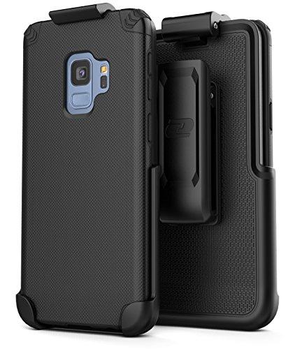Encased Samsung Galaxy S9 Belt Clip Holster (Nova Series) Slim Grip Case + Secure-fit Holster Clip (New 2018 Release) (Black) (New Belt Holster)