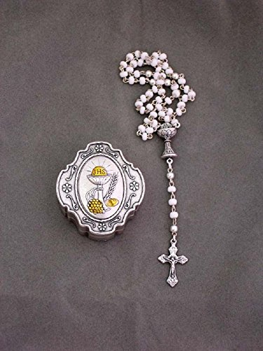 First Holy Communion box with pewter-colored top and imitation pearl/glass rosary, 10.5inches. Made in Italy. by GSV001
