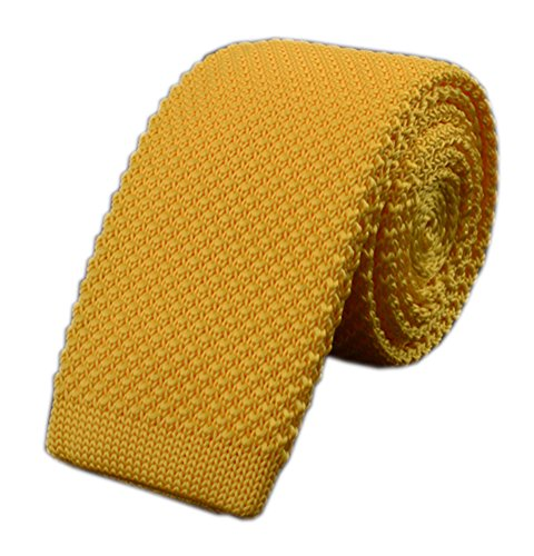 Mens Bright Yellow Knit Ties Vintage Woven Casual 2