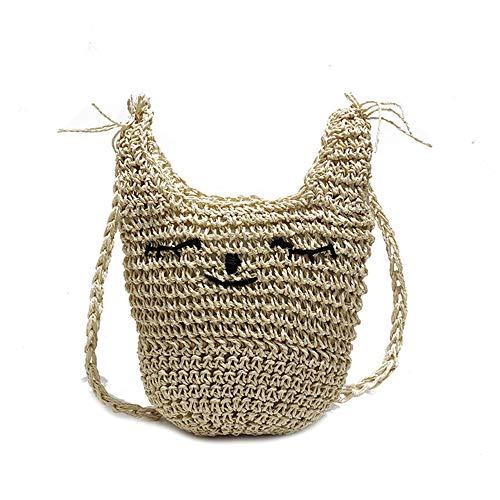 Bolso pequeño Bolsa de Paja Bolso Bolso Bag de Verano Tejido Messenger wxT66YC