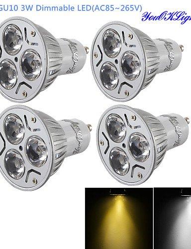HJLHYL MNDFocos Regulable / Decorativa YouOKLight R63 GU10 3 W 3 LED de Alta Potencia 300 LM Blanco C¨¢lido / Blanco Fresco AC 85-265 V 4 piezas ...