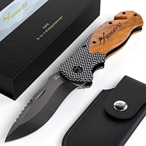 BERGKVIST® 3-in-1 Taschenmesser K20 Zweihand-Messer darf geführt Werden I scharfes Klappmesser I Survival Knife…