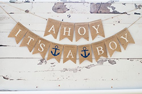 Baby Shower Decorations for Boy, Nautical Baby Announcement, Gender Reveal Party, Ahoy It's A Boy (Decoration Baby Shower Boy)