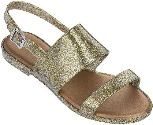 Melissa Womens Classy Sandal Mix Gold Glitter Size 8