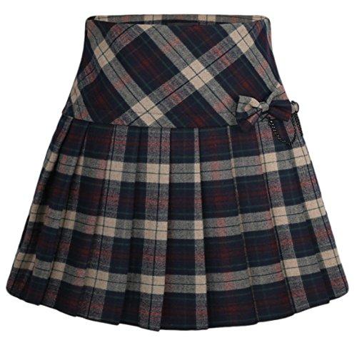 Chouyatou Women's A-Line Plaid Wool Blend Pleated Skirt Side Zipper (X-Small, (Navy Wool Skirt)