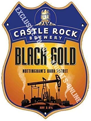 Castle Rock Black Gold Beer Advertising Pub Metal Pump Badge Shield Steel Sign