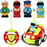 Joyin Toy Cartoon RC Race Car Radio Remote Control with Music & Sound includes 4 Figures Toys for Baby, Children and Toddler Toys Cars, School Classroom Prize, Easter Stuffer and Holiday Gift.